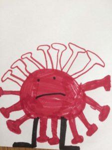Corona-Virus, gemalt von meinem 5-jährigen Sohn